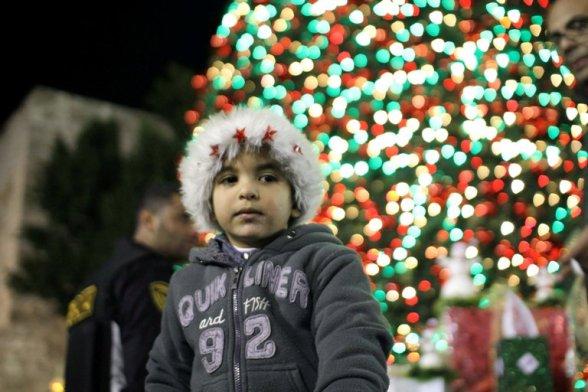 Bethlehem - Christmas tree lighting celebration in Manger Square Photo by Ahmed Mazhar - WAFA