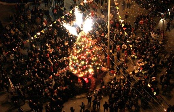 Dec 15 2012 - Nablus - Christian community light the Christmas tree in preparation for Christmas celebrations Photo by Ayman Nubana - WAFA