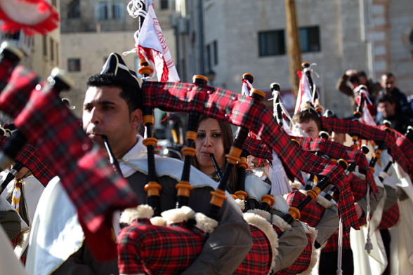 Dec 24 2012 - Bethlehem - Christmas and Scouts in Manger Square in Bethlehem Photo by  Eyad Jadallah