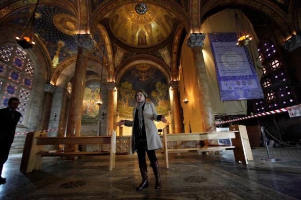 Jerusalem - Project  to preserve Palestinian cultural heritage in the Gethsemane Church Photo by Afif Emera - WAFA