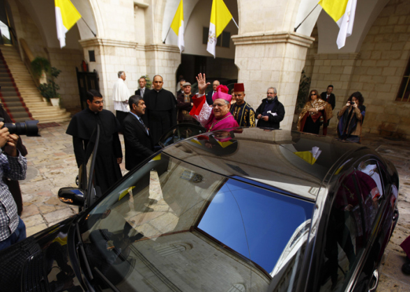 Dec 24 2012, Latin  Patriarch Fouad Twal going to Bethlehem as Christmas celebrations begin Photo by Afif  Emera - WAFA