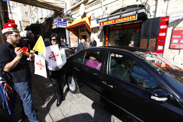 Dec 24 2012, Latin  Patriarch Fouad Twal going to Bethlehem as Christmas celebrations begin Photo by Afif  Emera - WAFA