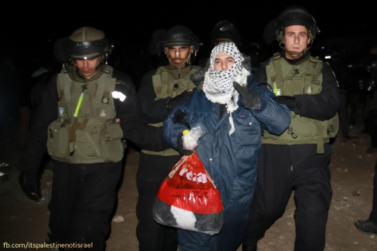 An activist is detained by Israeli forces.