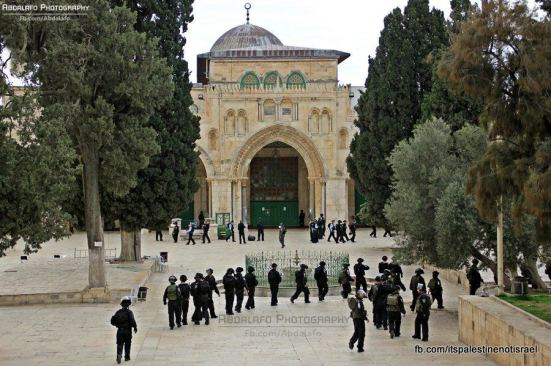 Protest in support of prisoners, Al-Aqsa, Jerusalem, Feb 22_09
