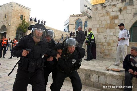Protest in support of prisoners, Al-Aqsa, Jerusalem, Feb 22_10