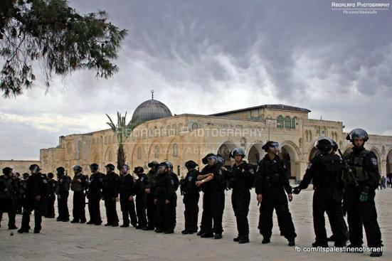 Protest in support of prisoners, Al-Aqsa, Jerusalem, Feb 22_11