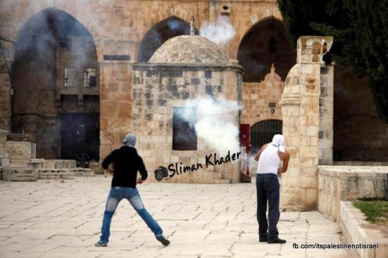 Protest in support of prisoners, Al-Aqsa, Jerusalem, Feb 22_14