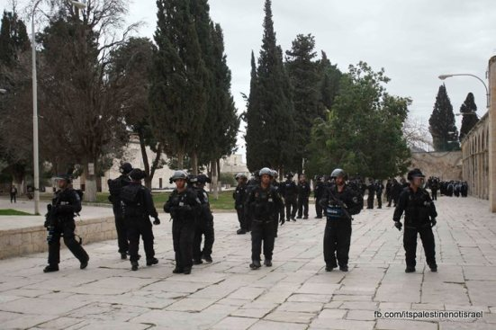 Protest in support of prisoners, Al-Aqsa, Jerusalem, Feb 22_18