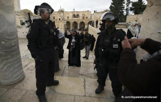 Protest in support of prisoners, Al-Aqsa, Jerusalem, Feb 22_26