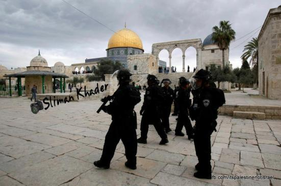 Protest in support of prisoners, Al-Aqsa, Jerusalem, Feb 22_30