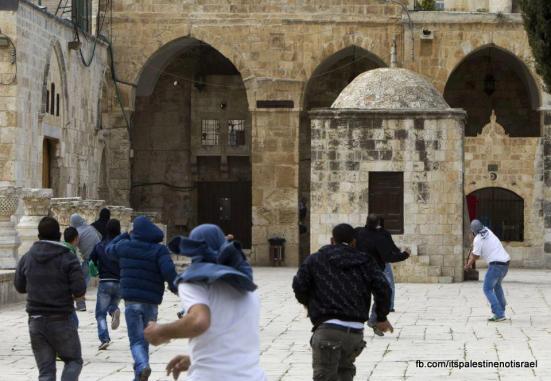 Israeli occupation forces storm Al-Aqsa compound_March_8_2013_14