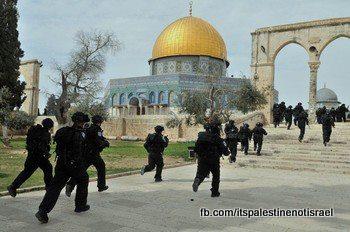 Israeli occupation forces storm Al-Aqsa compound_March_8_2013_19