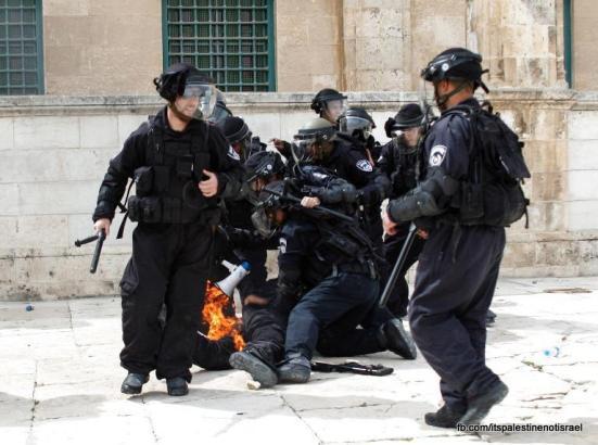 Israeli occupation forces storm Al-Aqsa compound_March_8_2013_34