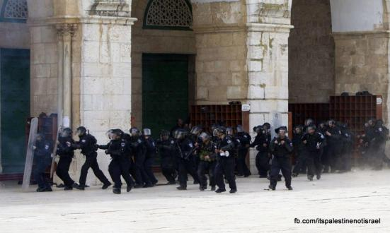 Israeli occupation forces storm Al-Aqsa compound_March_8_2013_38