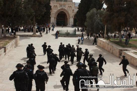Israeli occupation forces storm Al-Aqsa compound_March_8_2013_40