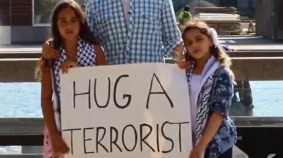 Hug A Terrorist Arab girls act to save Gaza victims