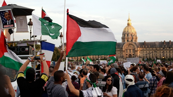 Protesters wave Palestinian flags during a demonstration on July 23, 2014 in front of the Invalides in Paris, to denounce Israel's military campaign in Gaza and to show their support to the Palestinian people (AFP Photo / Kenzo Tribouillard)