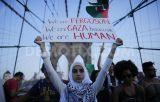 Pro-Palestinian protest on the Brooklyn Bridge in New York City