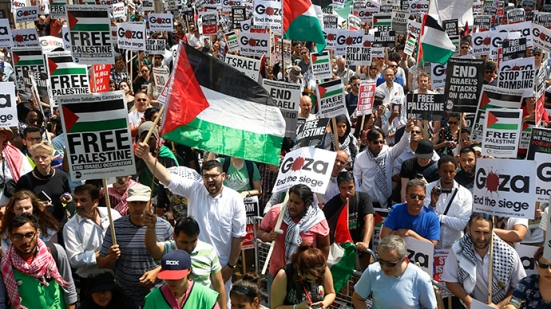 Demonstrators protest outside the Israeil Embassy in west London July 26, 2014. (Reuters / Luke MacGregor)